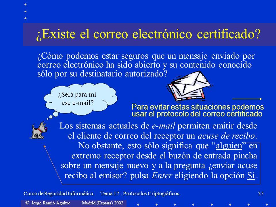 © Jorge Ramió Aguirre Madrid (España) 2002 Curso de Seguridad Informática. Tema 17: Protocolos Criptográficos.35 ¿Cómo podemos estar seguros que un me