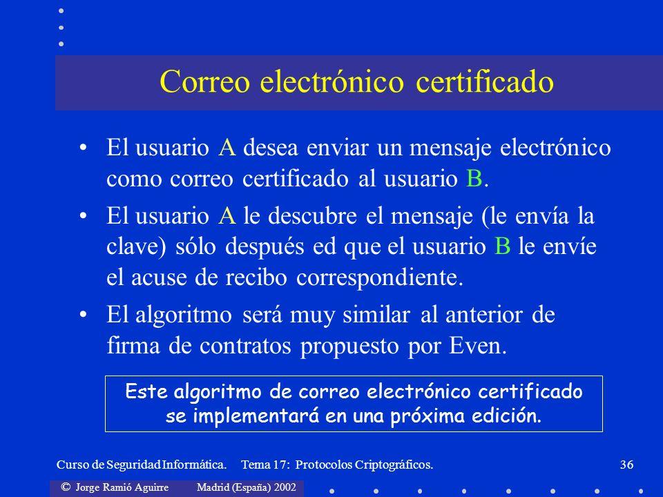 © Jorge Ramió Aguirre Madrid (España) 2002 Curso de Seguridad Informática. Tema 17: Protocolos Criptográficos.36 El usuario A desea enviar un mensaje
