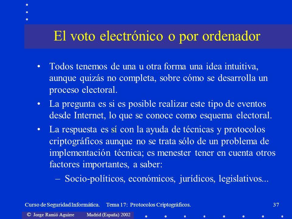 © Jorge Ramió Aguirre Madrid (España) 2002 Curso de Seguridad Informática. Tema 17: Protocolos Criptográficos.37 Todos tenemos de una u otra forma una