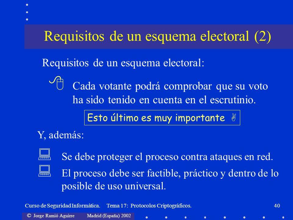 © Jorge Ramió Aguirre Madrid (España) 2002 Curso de Seguridad Informática. Tema 17: Protocolos Criptográficos.40 Requisitos de un esquema electoral (2