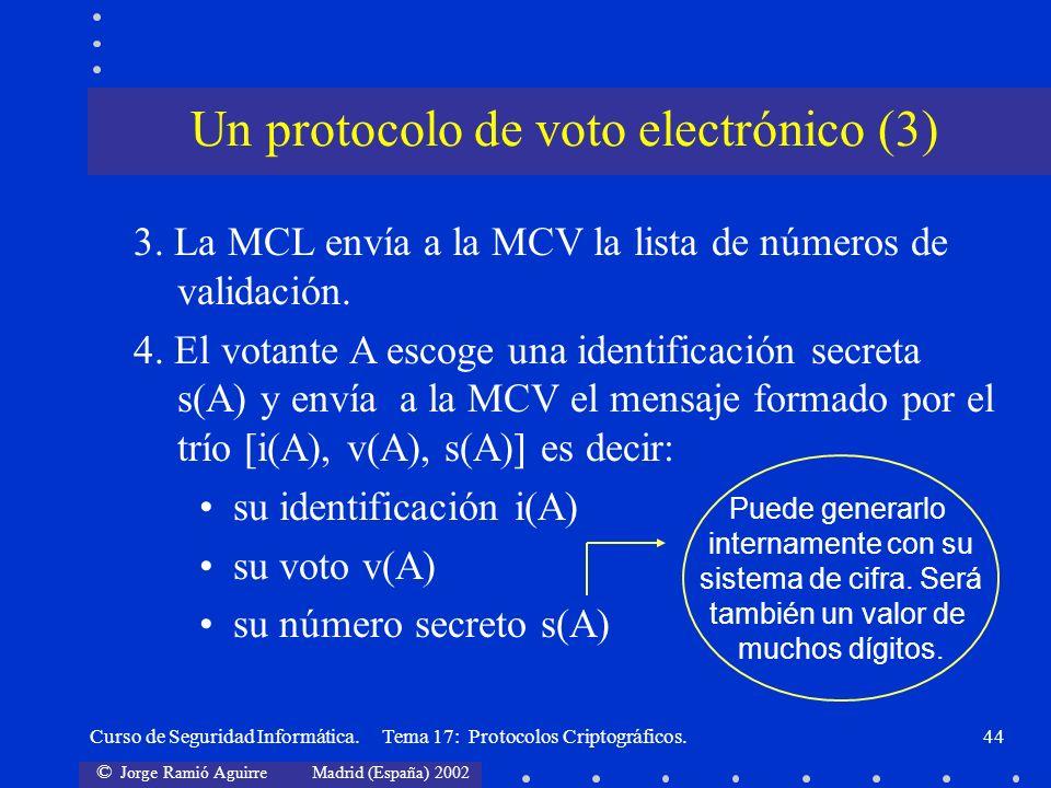 © Jorge Ramió Aguirre Madrid (España) 2002 Curso de Seguridad Informática. Tema 17: Protocolos Criptográficos.44 Un protocolo de voto electrónico (3)