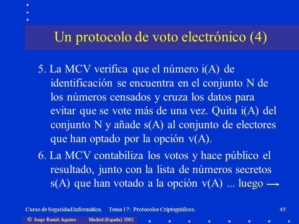 © Jorge Ramió Aguirre Madrid (España) 2002 Curso de Seguridad Informática. Tema 17: Protocolos Criptográficos.45 Un protocolo de voto electrónico (4)