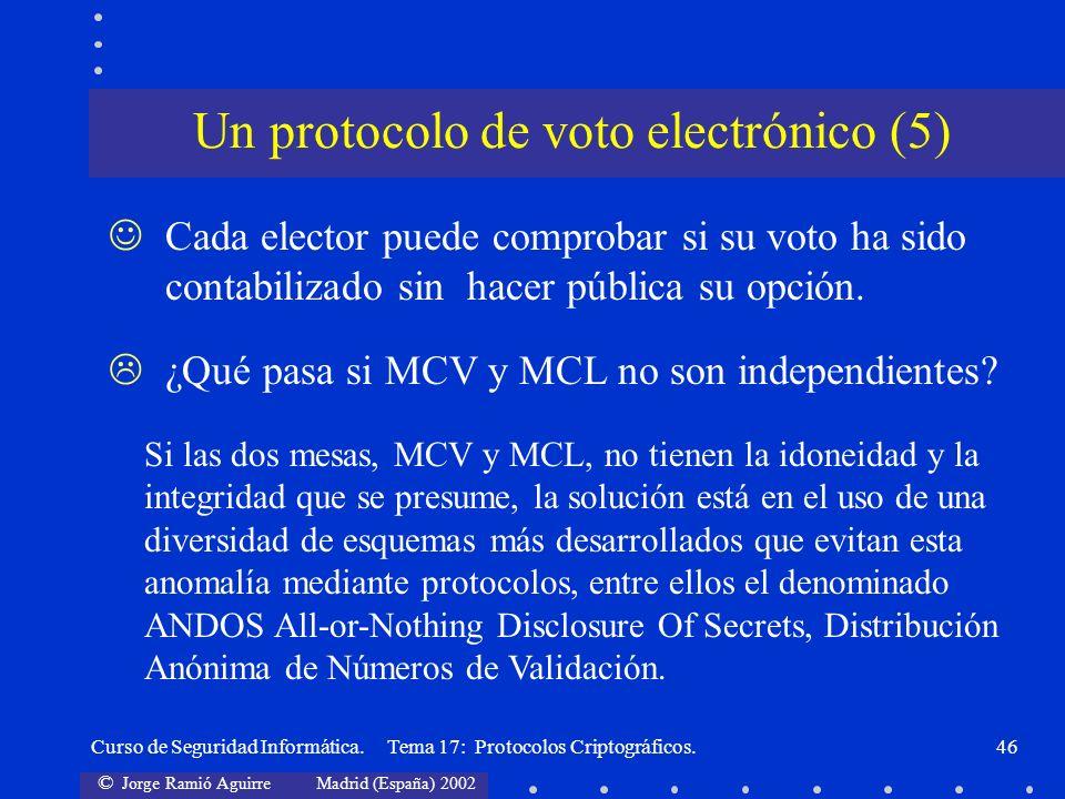 © Jorge Ramió Aguirre Madrid (España) 2002 Curso de Seguridad Informática. Tema 17: Protocolos Criptográficos.46 Un protocolo de voto electrónico (5)