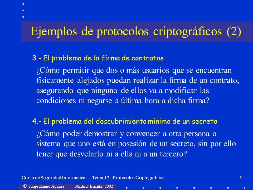 © Jorge Ramió Aguirre Madrid (España) 2002 Curso de Seguridad Informática. Tema 17: Protocolos Criptográficos.5 3.- El problema de la firma de contrat