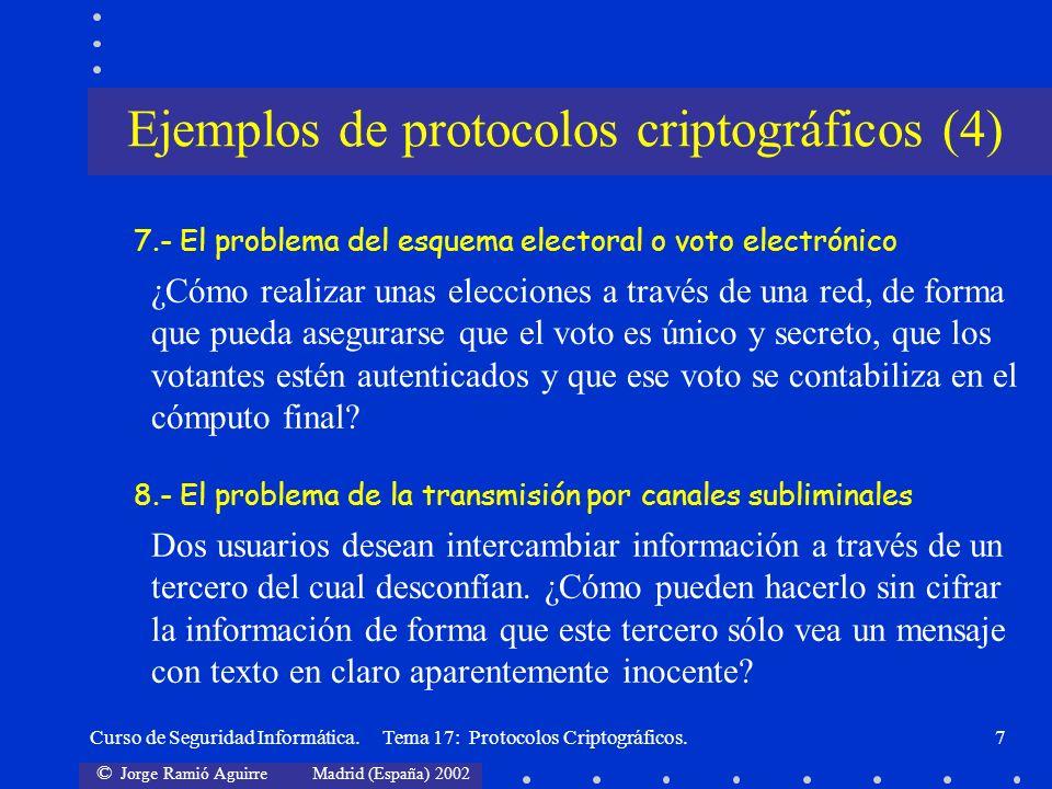 © Jorge Ramió Aguirre Madrid (España) 2002 Curso de Seguridad Informática. Tema 17: Protocolos Criptográficos.7 7.- El problema del esquema electoral