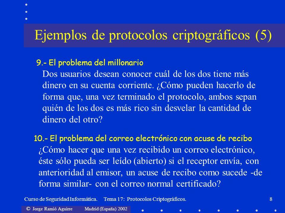 © Jorge Ramió Aguirre Madrid (España) 2002 Curso de Seguridad Informática. Tema 17: Protocolos Criptográficos.8 9.- El problema del millonario Dos usu
