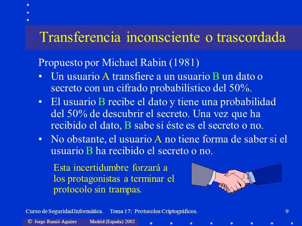 © Jorge Ramió Aguirre Madrid (España) 2002 Curso de Seguridad Informática. Tema 17: Protocolos Criptográficos.9 Propuesto por Michael Rabin (1981) Un