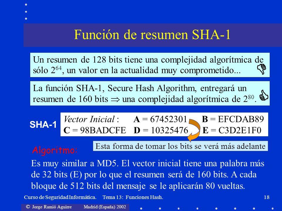 © Jorge Ramió Aguirre Madrid (España) 2002 Curso de Seguridad Informática. Tema 13: Funciones Hash.18 Un resumen de 128 bits tiene una complejidad alg