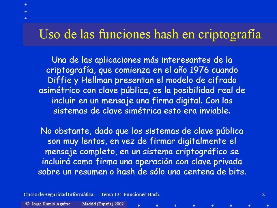 © Jorge Ramió Aguirre Madrid (España) 2002 Curso de Seguridad Informática. Tema 13: Funciones Hash.2 Uso de las funciones hash en criptografía Una de
