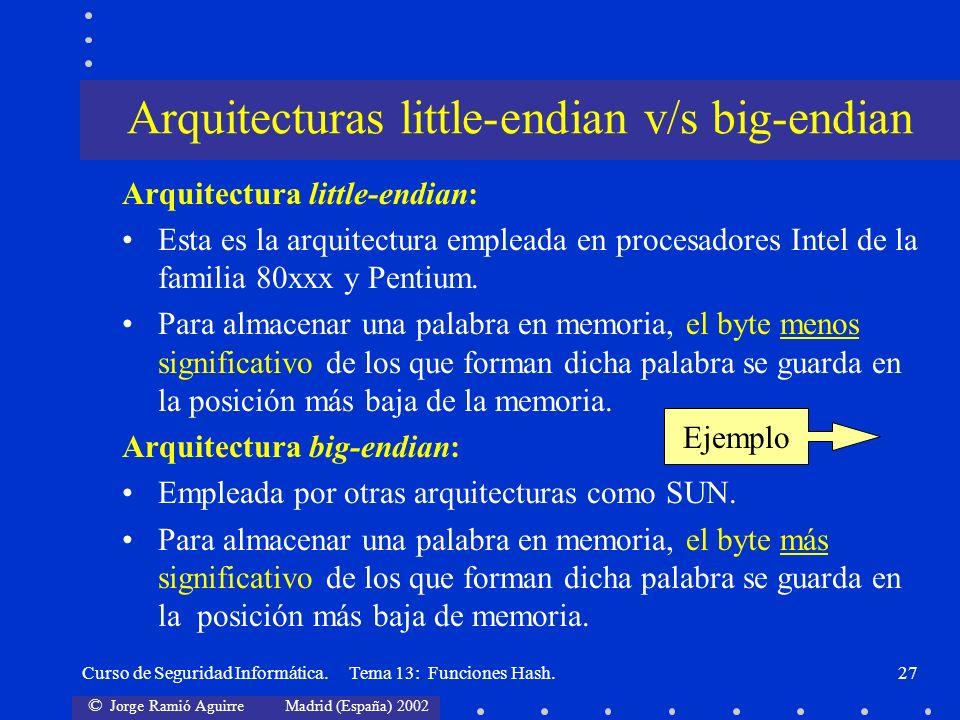 © Jorge Ramió Aguirre Madrid (España) 2002 Curso de Seguridad Informática. Tema 13: Funciones Hash.27 Arquitectura little-endian: Esta es la arquitect