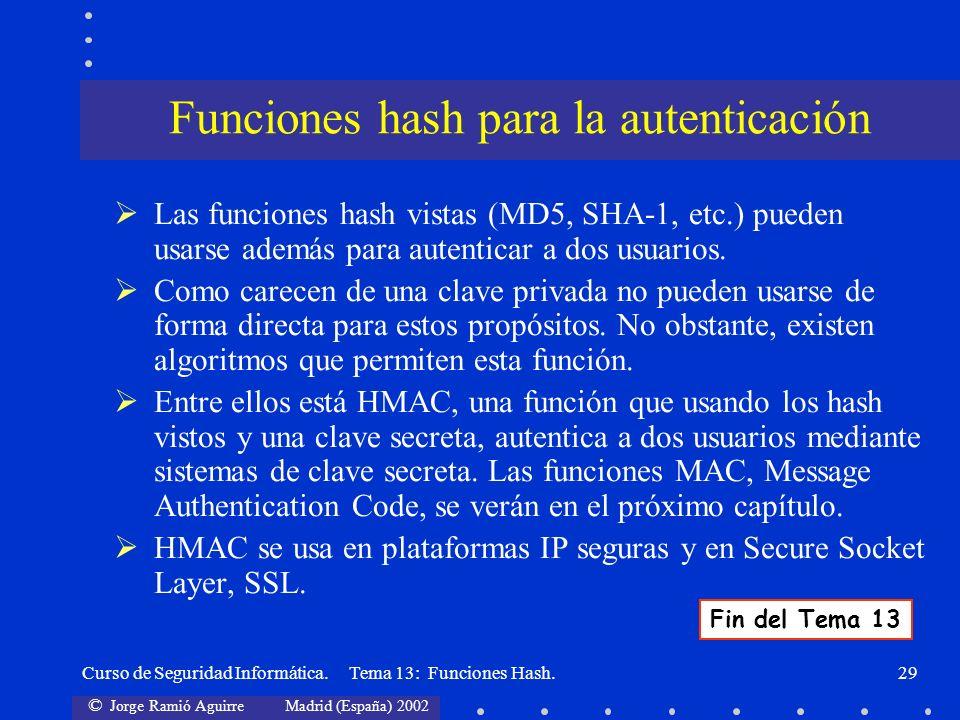 © Jorge Ramió Aguirre Madrid (España) 2002 Curso de Seguridad Informática. Tema 13: Funciones Hash.29 Las funciones hash vistas (MD5, SHA-1, etc.) pue