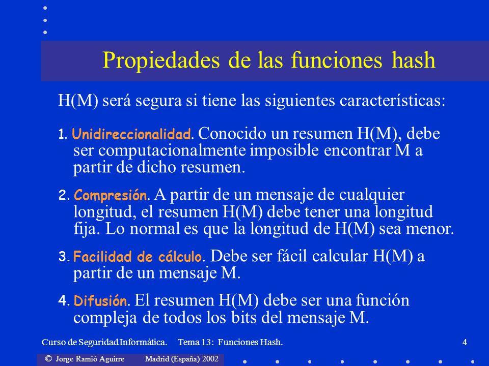 © Jorge Ramió Aguirre Madrid (España) 2002 Curso de Seguridad Informática. Tema 13: Funciones Hash.4 Propiedades de las funciones hash H(M) será segur