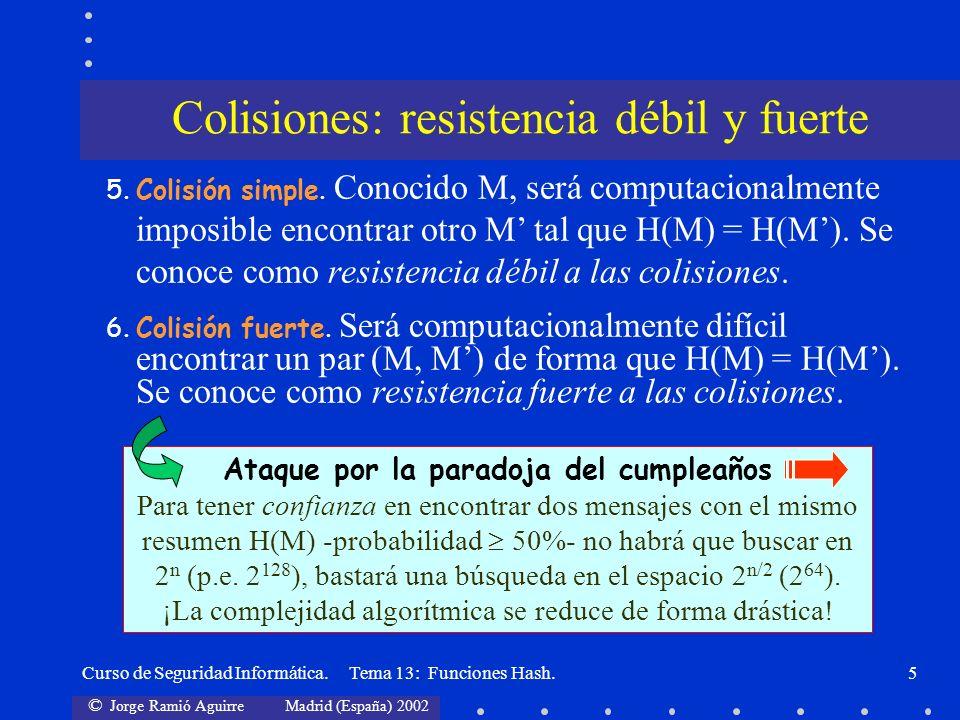 © Jorge Ramió Aguirre Madrid (España) 2002 Curso de Seguridad Informática. Tema 13: Funciones Hash.5 Colisiones: resistencia débil y fuerte 5.Colisión