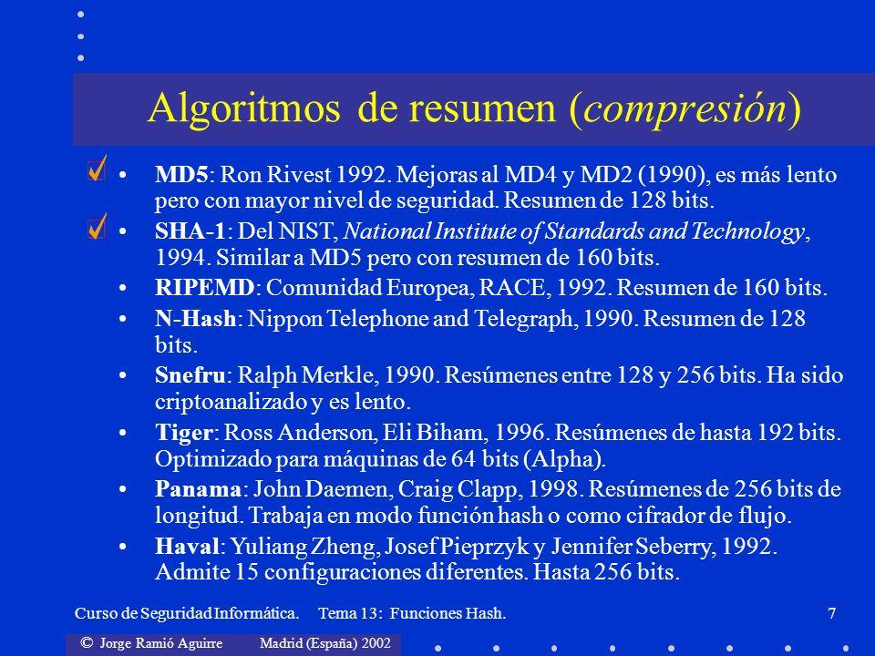© Jorge Ramió Aguirre Madrid (España) 2002 Curso de Seguridad Informática. Tema 13: Funciones Hash.7 Algoritmos de resumen (compresión) MD5: Ron Rives