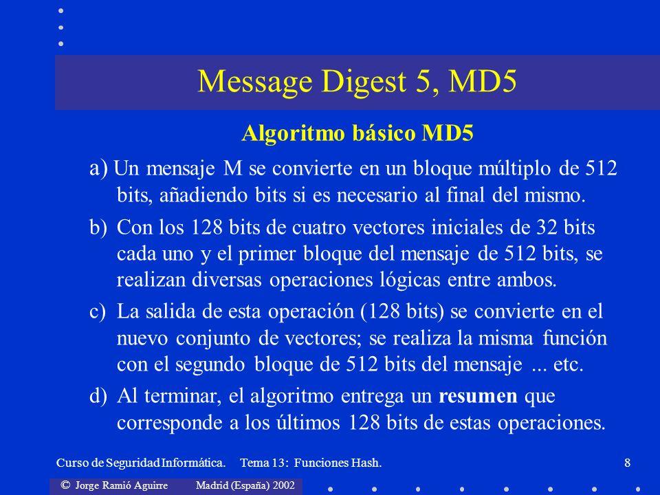 © Jorge Ramió Aguirre Madrid (España) 2002 Curso de Seguridad Informática. Tema 13: Funciones Hash.8 Message Digest 5, MD5 Algoritmo básico MD5 a) Un