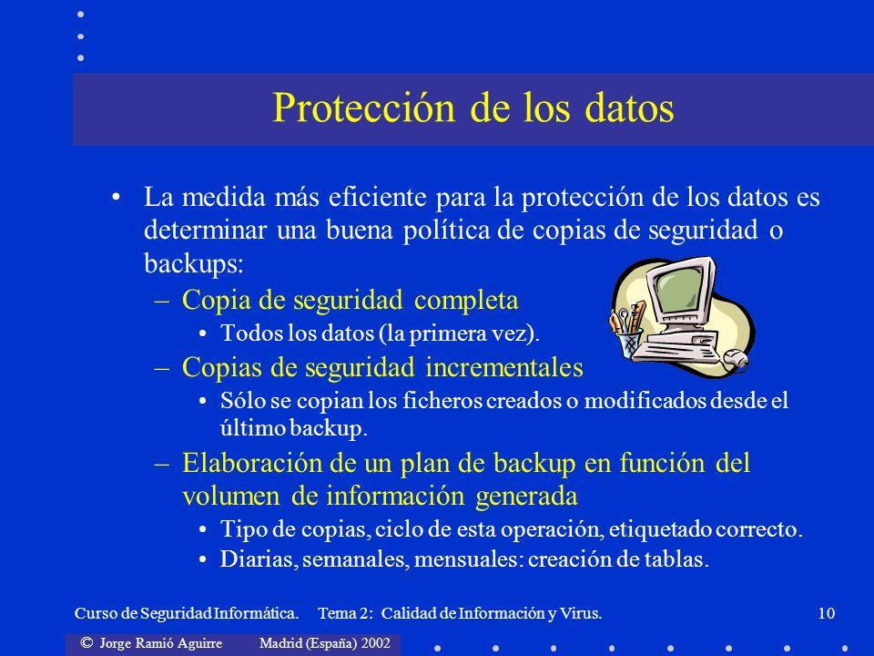 © Jorge Ramió Aguirre Madrid (España) 2002 Curso de Seguridad Informática. Tema 2: Calidad de Información y Virus.10 La medida más eficiente para la p