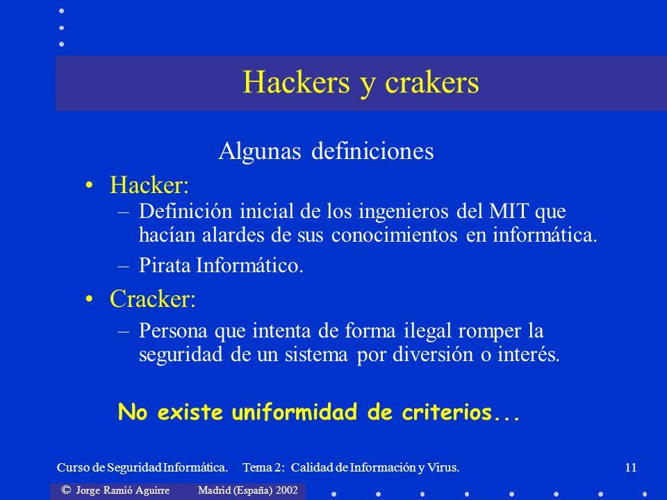 © Jorge Ramió Aguirre Madrid (España) 2002 Curso de Seguridad Informática. Tema 2: Calidad de Información y Virus.11 Algunas definiciones Hacker: –Def