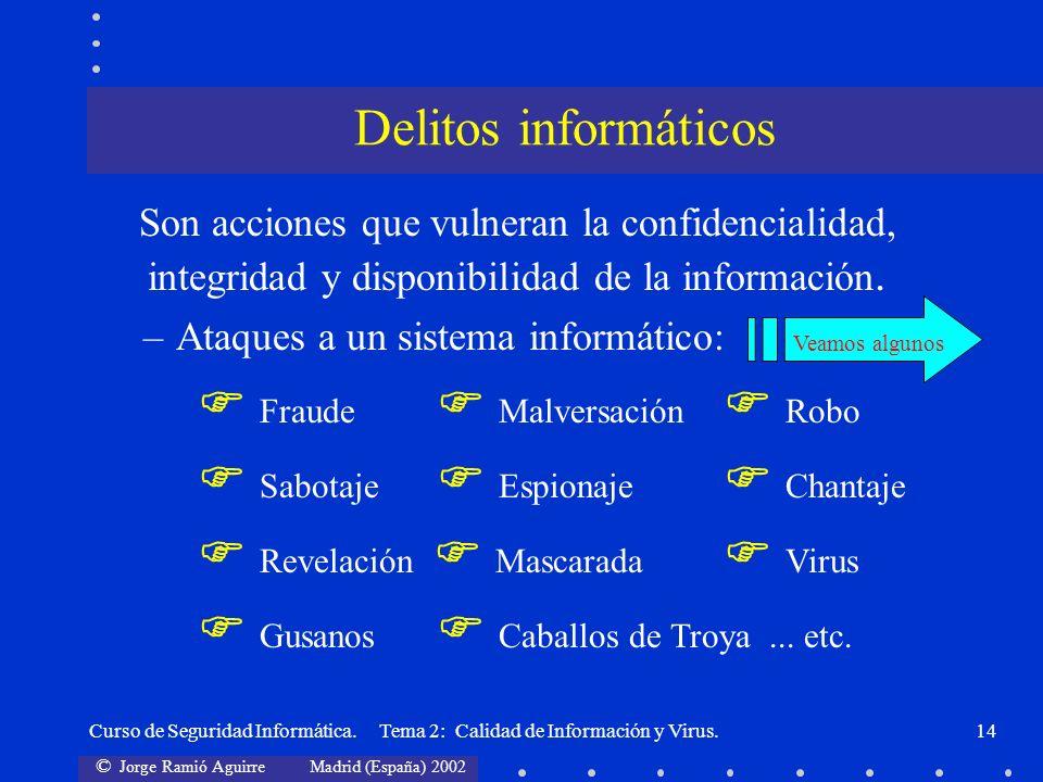 © Jorge Ramió Aguirre Madrid (España) 2002 Curso de Seguridad Informática. Tema 2: Calidad de Información y Virus.14 Son acciones que vulneran la conf