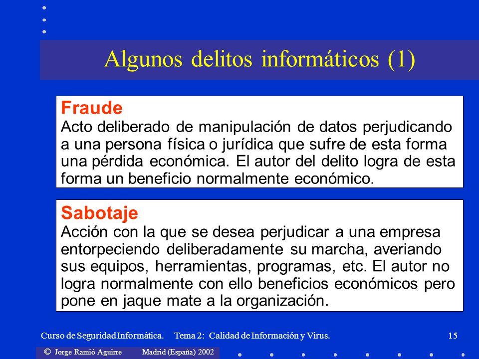 © Jorge Ramió Aguirre Madrid (España) 2002 Curso de Seguridad Informática. Tema 2: Calidad de Información y Virus.15 Fraude Acto deliberado de manipul