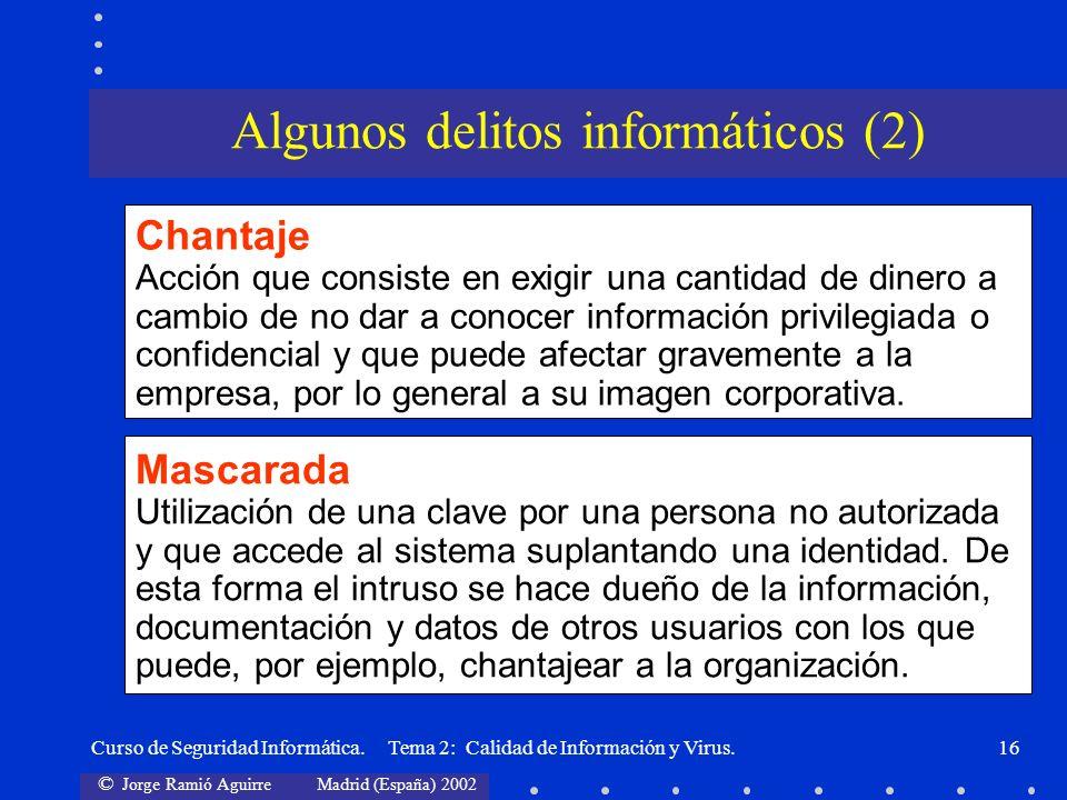 © Jorge Ramió Aguirre Madrid (España) 2002 Curso de Seguridad Informática. Tema 2: Calidad de Información y Virus.16 Chantaje Acción que consiste en e