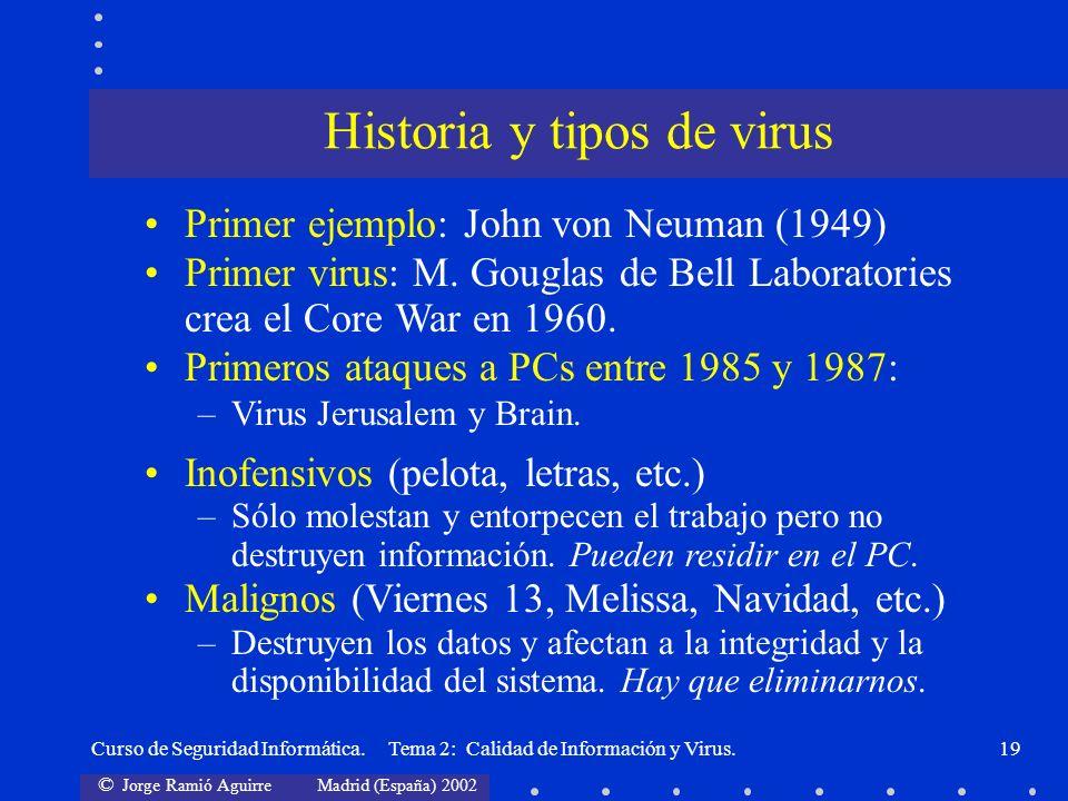© Jorge Ramió Aguirre Madrid (España) 2002 Curso de Seguridad Informática. Tema 2: Calidad de Información y Virus.19 Primer ejemplo: John von Neuman (