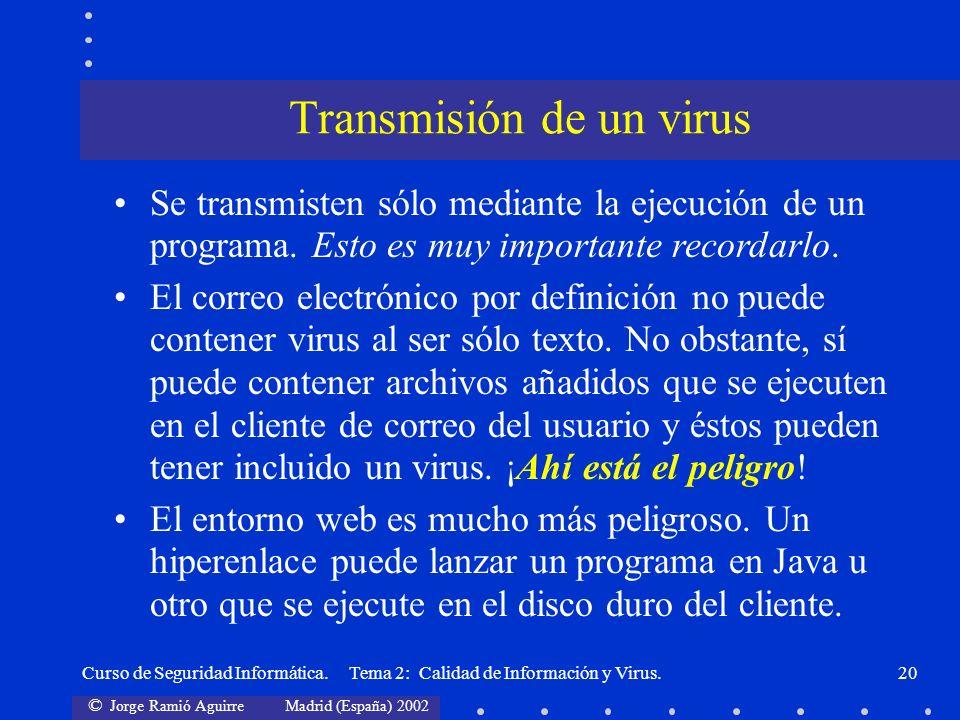 © Jorge Ramió Aguirre Madrid (España) 2002 Curso de Seguridad Informática. Tema 2: Calidad de Información y Virus.20 Se transmisten sólo mediante la e