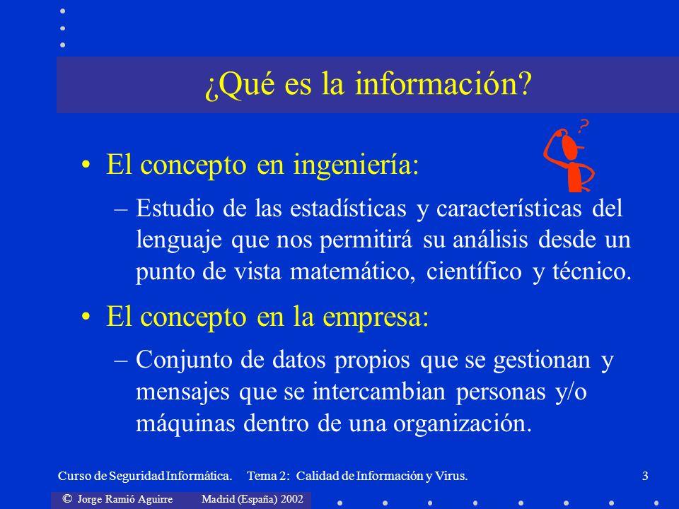 © Jorge Ramió Aguirre Madrid (España) 2002 Curso de Seguridad Informática. Tema 2: Calidad de Información y Virus.3 El concepto en ingeniería: –Estudi