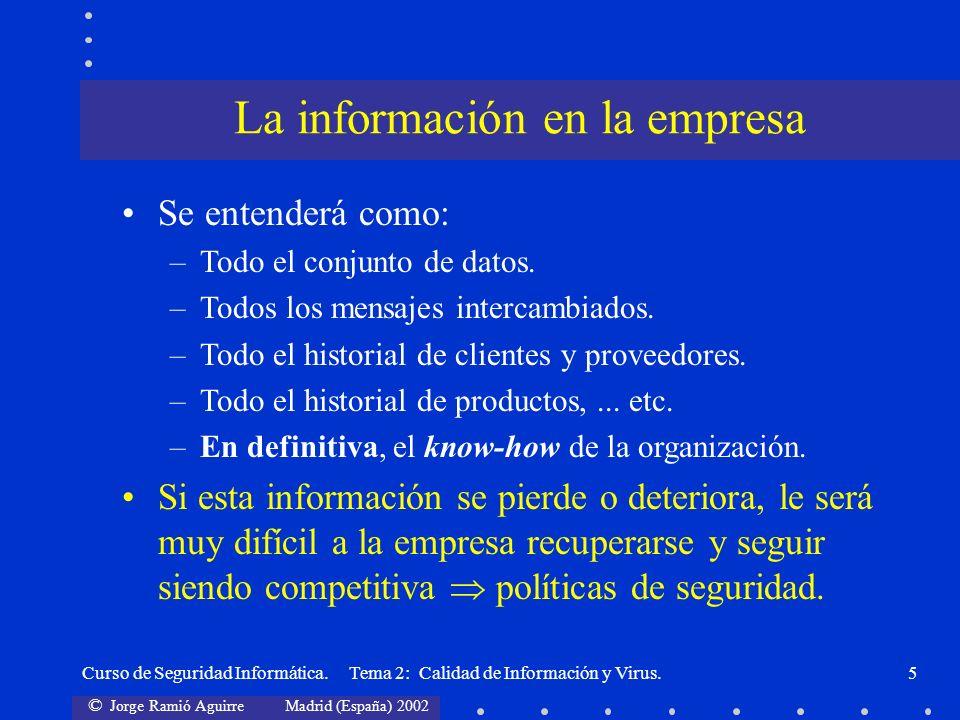 © Jorge Ramió Aguirre Madrid (España) 2002 Curso de Seguridad Informática. Tema 2: Calidad de Información y Virus.5 Se entenderá como: –Todo el conjun