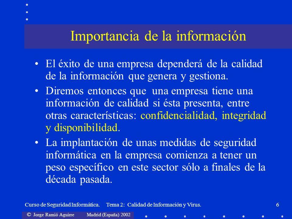 © Jorge Ramió Aguirre Madrid (España) 2002 Curso de Seguridad Informática. Tema 2: Calidad de Información y Virus.6 El éxito de una empresa dependerá