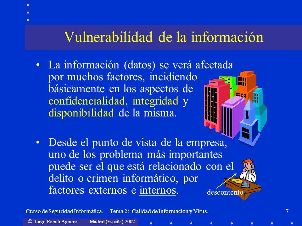 © Jorge Ramió Aguirre Madrid (España) 2002 Curso de Seguridad Informática. Tema 2: Calidad de Información y Virus.7 La información (datos) se verá afe
