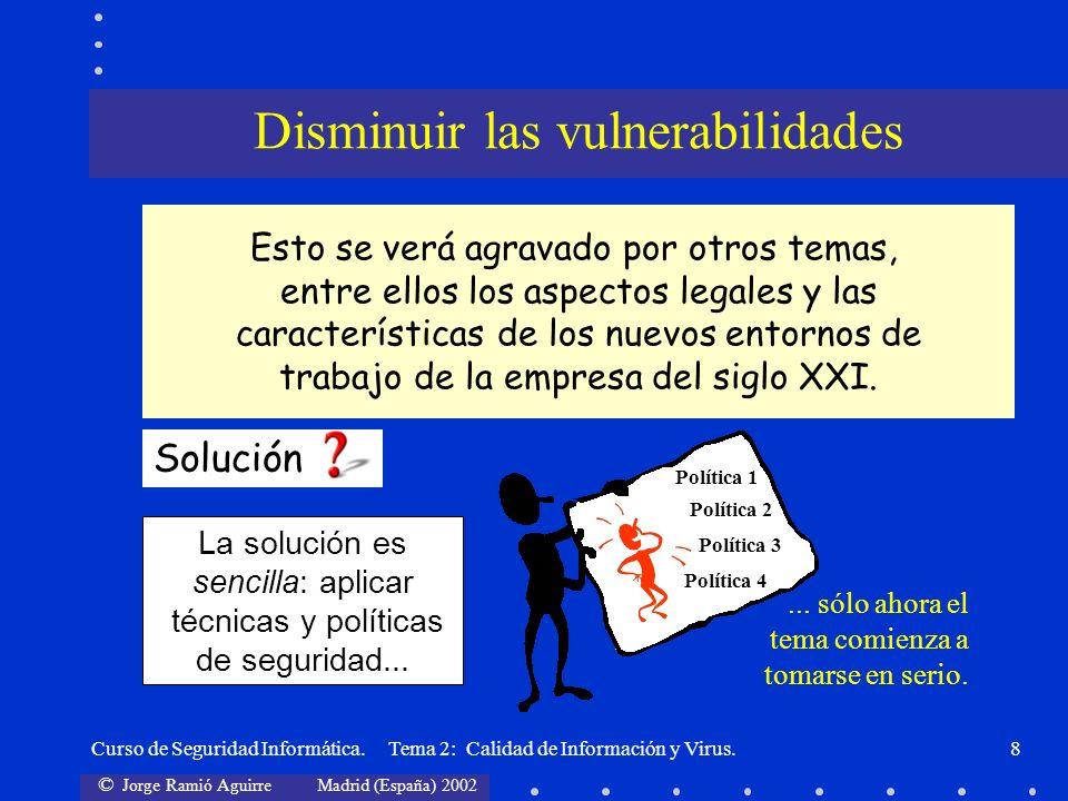 © Jorge Ramió Aguirre Madrid (España) 2002 Curso de Seguridad Informática. Tema 2: Calidad de Información y Virus.8 La solución es sencilla: aplicar t