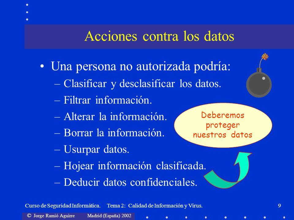 © Jorge Ramió Aguirre Madrid (España) 2002 Curso de Seguridad Informática. Tema 2: Calidad de Información y Virus.9 Una persona no autorizada podría: