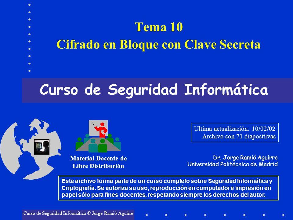 Tema 10 Cifrado en Bloque con Clave Secreta Curso de Seguridad Informática Material Docente de Libre Distribución Curso de Seguridad Informática © Jor