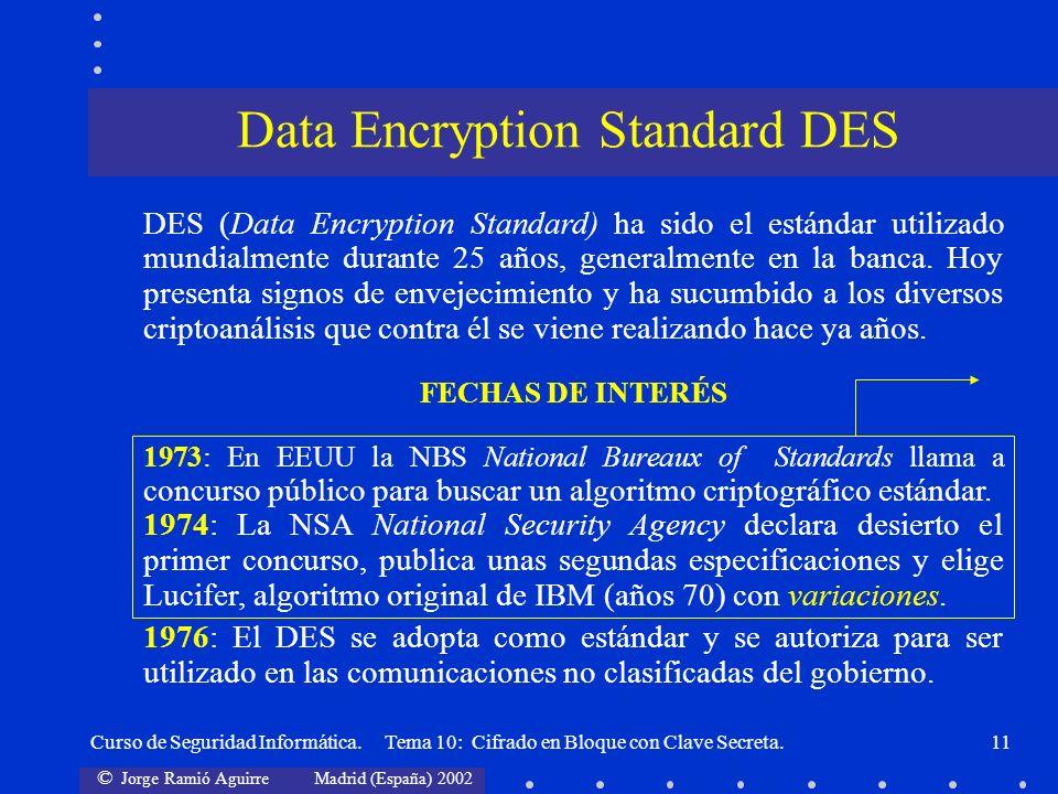 © Jorge Ramió Aguirre Madrid (España) 2002 Curso de Seguridad Informática. Tema 10: Cifrado en Bloque con Clave Secreta.11 DES (Data Encryption Standa