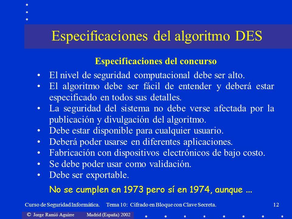 © Jorge Ramió Aguirre Madrid (España) 2002 Curso de Seguridad Informática. Tema 10: Cifrado en Bloque con Clave Secreta.12 Especificaciones del concur