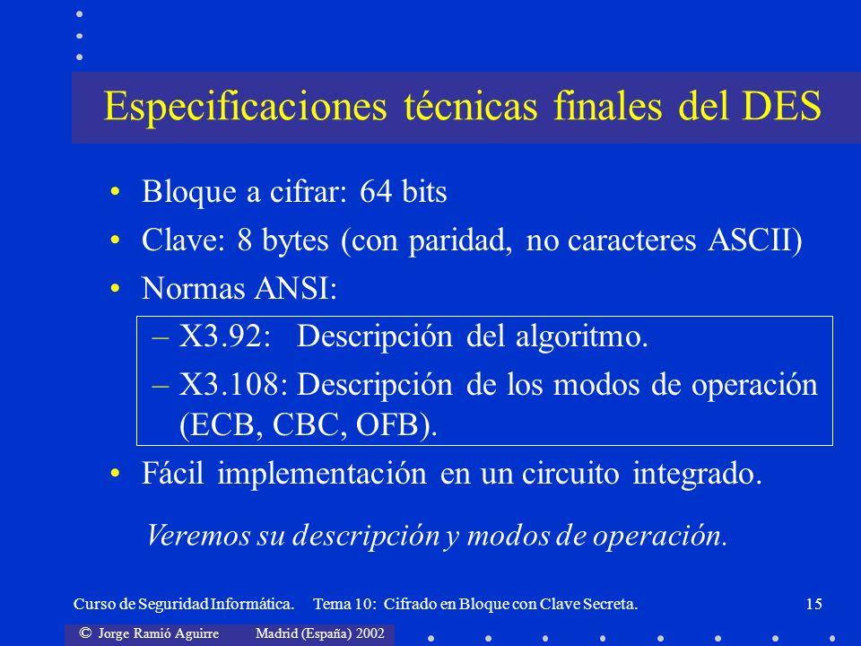 © Jorge Ramió Aguirre Madrid (España) 2002 Curso de Seguridad Informática. Tema 10: Cifrado en Bloque con Clave Secreta.15 Bloque a cifrar: 64 bits Cl