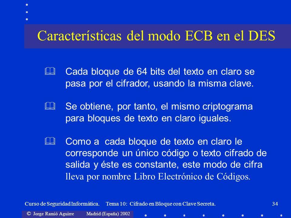 © Jorge Ramió Aguirre Madrid (España) 2002 Curso de Seguridad Informática. Tema 10: Cifrado en Bloque con Clave Secreta.34 Cada bloque de 64 bits del