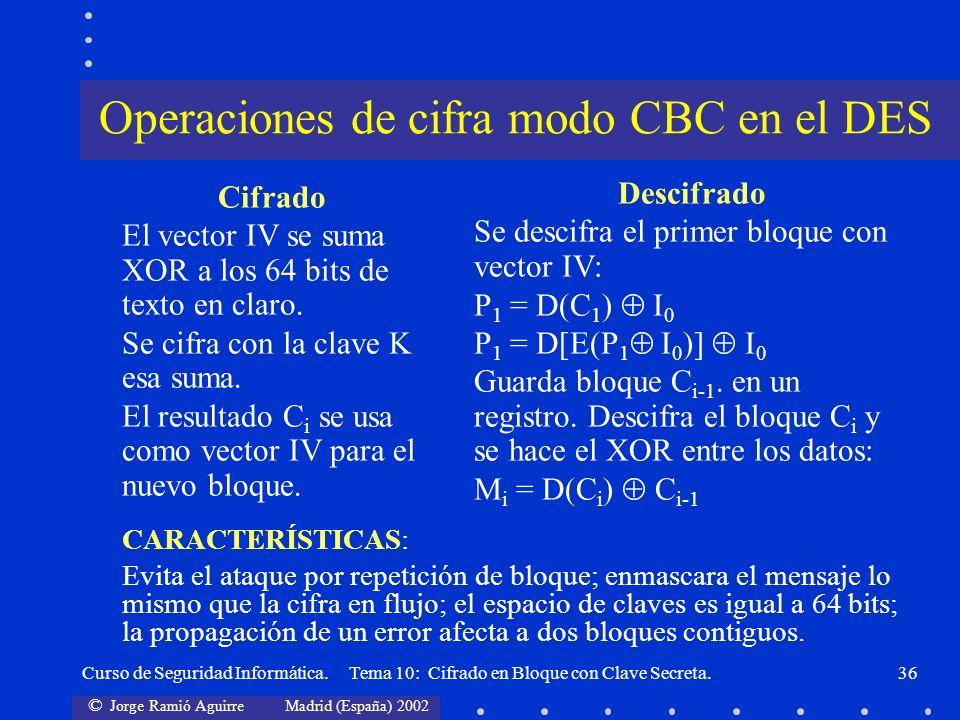 © Jorge Ramió Aguirre Madrid (España) 2002 Curso de Seguridad Informática. Tema 10: Cifrado en Bloque con Clave Secreta.36 Cifrado El vector IV se sum