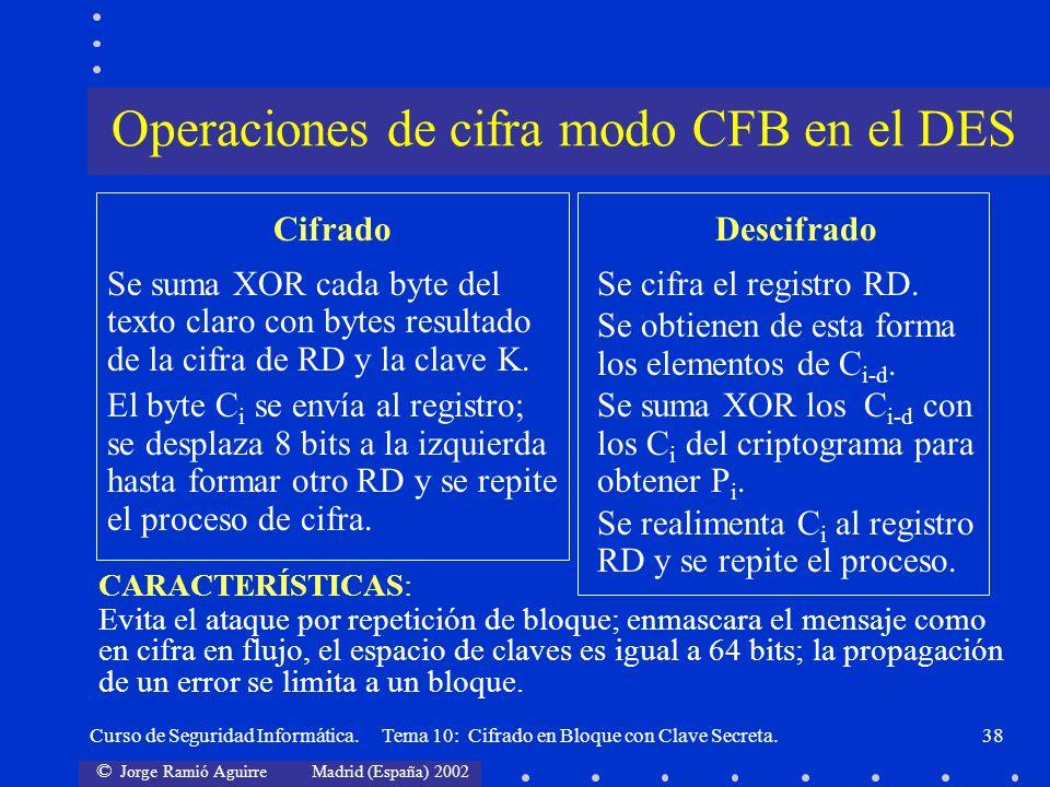 © Jorge Ramió Aguirre Madrid (España) 2002 Curso de Seguridad Informática. Tema 10: Cifrado en Bloque con Clave Secreta.38 Cifrado Se suma XOR cada by