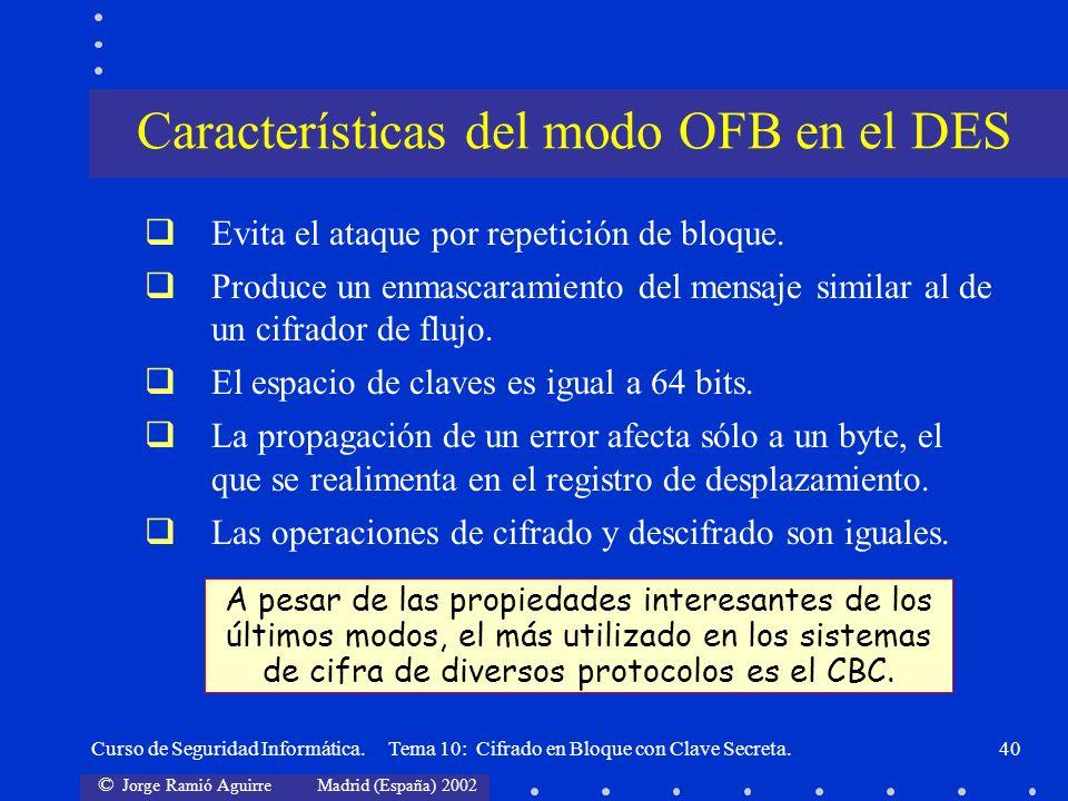 © Jorge Ramió Aguirre Madrid (España) 2002 Curso de Seguridad Informática. Tema 10: Cifrado en Bloque con Clave Secreta.40 Evita el ataque por repetic