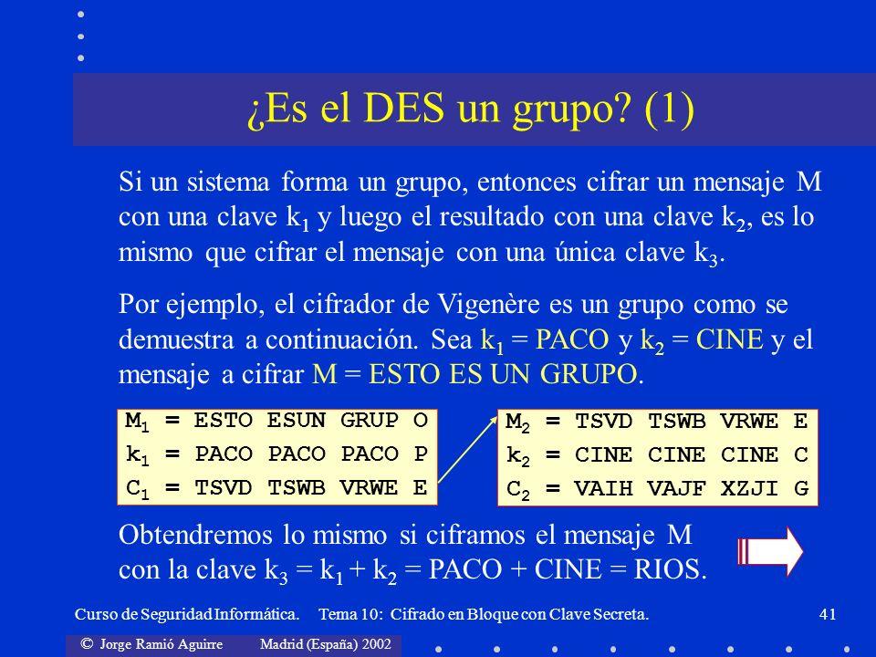 © Jorge Ramió Aguirre Madrid (España) 2002 Curso de Seguridad Informática. Tema 10: Cifrado en Bloque con Clave Secreta.41 Si un sistema forma un grup