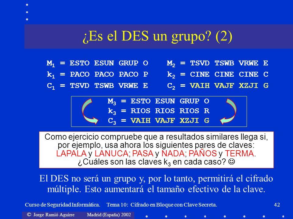 © Jorge Ramió Aguirre Madrid (España) 2002 Curso de Seguridad Informática. Tema 10: Cifrado en Bloque con Clave Secreta.42 M 1 = ESTO ESUN GRUP O k 1