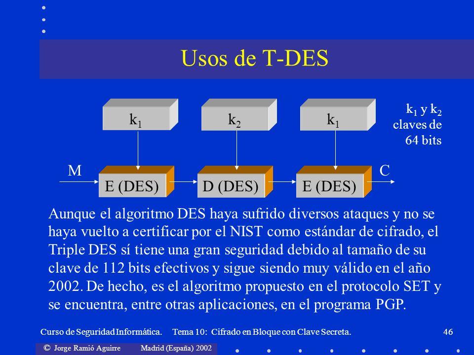 © Jorge Ramió Aguirre Madrid (España) 2002 Curso de Seguridad Informática. Tema 10: Cifrado en Bloque con Clave Secreta.46 k1k1 k2k2 E (DES) MC k 1 y