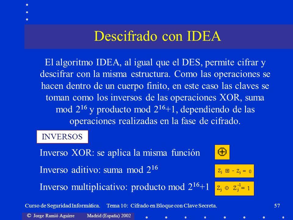 © Jorge Ramió Aguirre Madrid (España) 2002 Curso de Seguridad Informática. Tema 10: Cifrado en Bloque con Clave Secreta.57 INVERSOS El algoritmo IDEA,