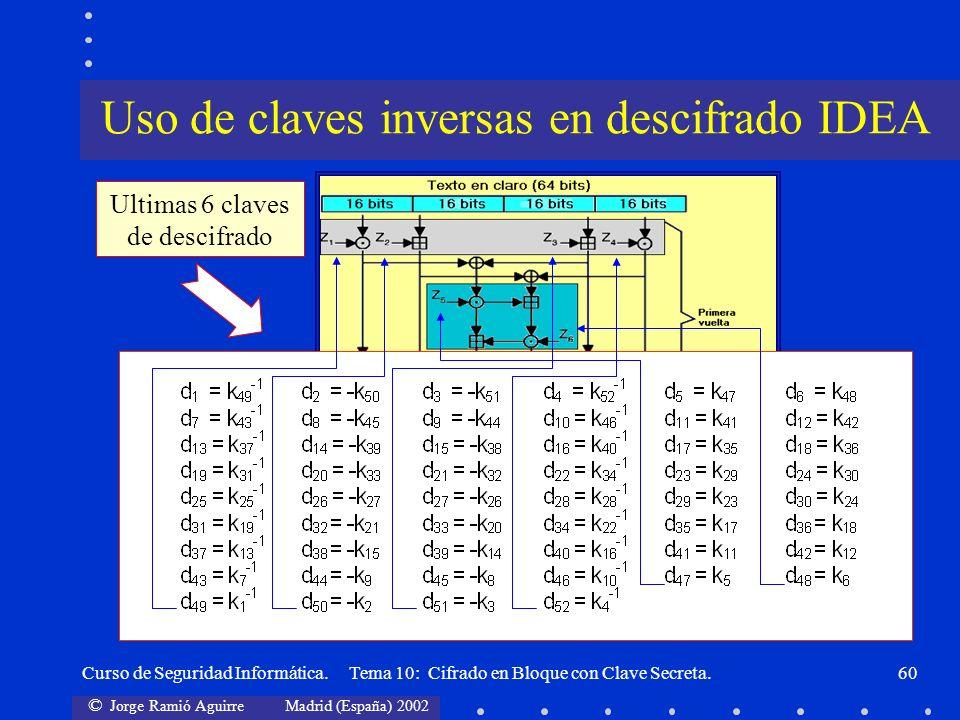 © Jorge Ramió Aguirre Madrid (España) 2002 Curso de Seguridad Informática. Tema 10: Cifrado en Bloque con Clave Secreta.60 Ultimas 6 claves de descifr