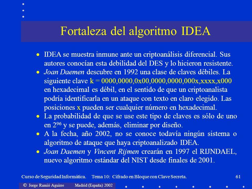 © Jorge Ramió Aguirre Madrid (España) 2002 Curso de Seguridad Informática. Tema 10: Cifrado en Bloque con Clave Secreta.61 IDEA se muestra inmune ante