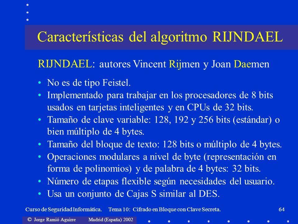 © Jorge Ramió Aguirre Madrid (España) 2002 Curso de Seguridad Informática. Tema 10: Cifrado en Bloque con Clave Secreta.64 RIJNDAEL: autores Vincent R