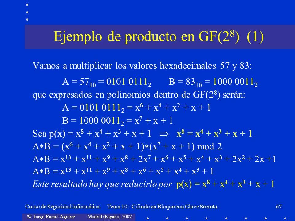 © Jorge Ramió Aguirre Madrid (España) 2002 Curso de Seguridad Informática. Tema 10: Cifrado en Bloque con Clave Secreta.67 Vamos a multiplicar los val