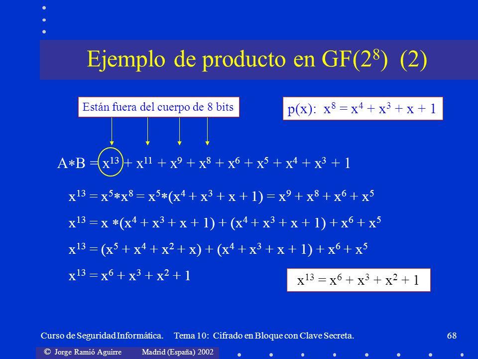 © Jorge Ramió Aguirre Madrid (España) 2002 Curso de Seguridad Informática. Tema 10: Cifrado en Bloque con Clave Secreta.68 p(x): x 8 = x 4 + x 3 + x +