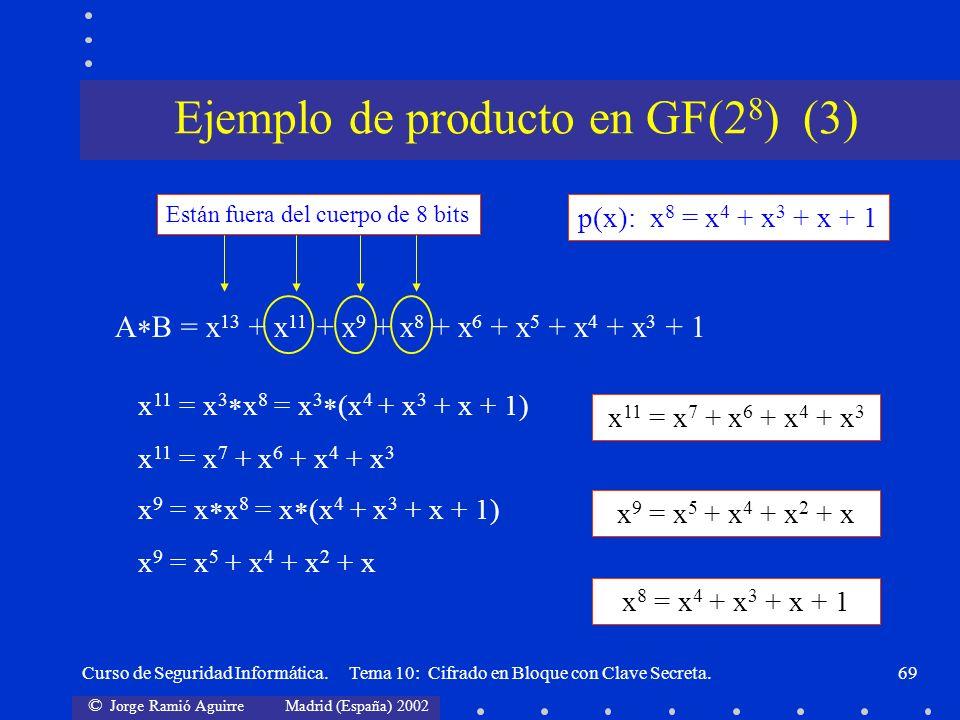 © Jorge Ramió Aguirre Madrid (España) 2002 Curso de Seguridad Informática. Tema 10: Cifrado en Bloque con Clave Secreta.69 p(x): x 8 = x 4 + x 3 + x +